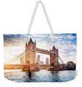 Tower Bridge In London, The Uk At Sunset. Drawbridge Opening Weekender Tote Bag