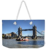 Tower Bridge With Canary Wharf In The Background Weekender Tote Bag