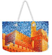Tower Of David At Night Jerusalem Original Palette Knife Painting Weekender Tote Bag