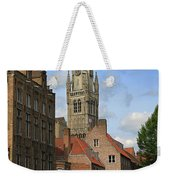 Tower Of The Belfrey From The Canal At Rozenhoedkaai Weekender Tote Bag