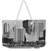 Tower Over Pittsburgh In Black And White Weekender Tote Bag