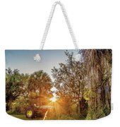 Tractor At Sunset Weekender Tote Bag