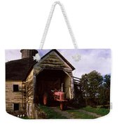Tractor Parked Inside Of A Round Barn Weekender Tote Bag