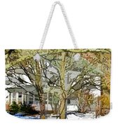 Traditional American Home In Winter Weekender Tote Bag by Lanjee Chee