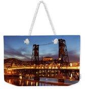 Traffic Light Trails On Steel Bridge Weekender Tote Bag
