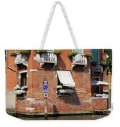 Traffic Signs On The Canal In Venice Italy Weekender Tote Bag