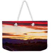 Train Track Sunset Weekender Tote Bag