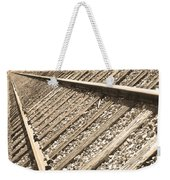 Train Tracks Sepia Triangular  Weekender Tote Bag