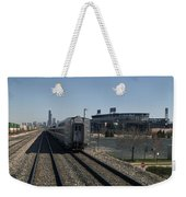 Trains Passing The Home Of The Chicago White Sox Weekender Tote Bag