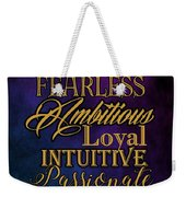 Traits Of A Scorpio Weekender Tote Bag by Mamie Thornbrue