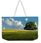 Tranquil Solitude Billowing Clouds Oak Tree Field Art Weekender Tote Bag