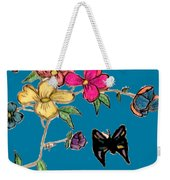 Transparent Flowers And Butterflies In Color Weekender Tote Bag