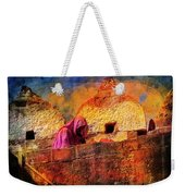 Travel Exotic Woman On Ramparts Mehrangarh Fort India Rajasthan 1h Weekender Tote Bag