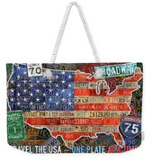 Travel The Usa One Plate At A Time License Plate Art By Design Turnpike Weekender Tote Bag