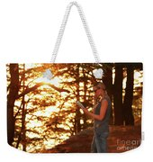 Traveler Woman In The Forest Weekender Tote Bag