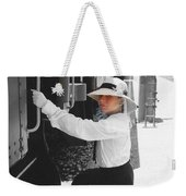 Traveling By Train - Black And White Focal Weekender Tote Bag