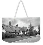 Travellers Delight - English Country Road Black And White Weekender Tote Bag