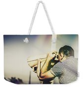 Travelling Man Looking Through Binoculars Weekender Tote Bag