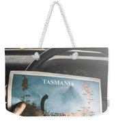 Travelling Tourist With Map Of Tasmania Weekender Tote Bag