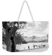 Tree And People By The Lake Weekender Tote Bag