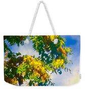 Tree Branch With Leaves In Blue Sky Weekender Tote Bag