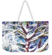 Tree Branches Covered By Snow In Winter Weekender Tote Bag