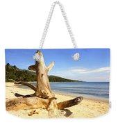 Tree Trunk On Beach Weekender Tote Bag