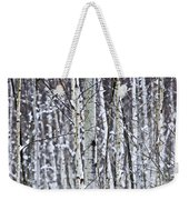 Tree Trunks Covered With Snow In Winter Weekender Tote Bag
