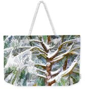 Tree With White Fluffy Snow Weekender Tote Bag