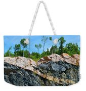 Trees Above The Pink And Grey Rock  Weekender Tote Bag