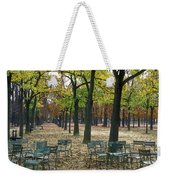 Trees And Empty Chairs In Autumn Weekender Tote Bag