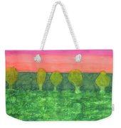 Trees, Green And Evening Sky Weekender Tote Bag