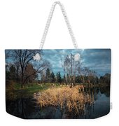 Trees In A Fog On A Background Of The River In Summer Morning  Weekender Tote Bag