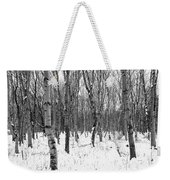 Trees In Winter Snow, Black And White Weekender Tote Bag