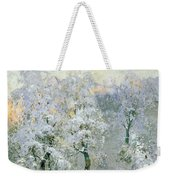 Trees In Wintry Silver Weekender Tote Bag