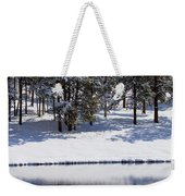 Trees Reflecting In Duck Pond In Colorado Snow Weekender Tote Bag