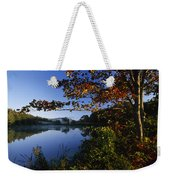 Trees With Fall Colors Along The Still Weekender Tote Bag