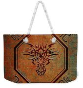 Tribal Dragon Head In Octagon With Dragon Chinese Characters Weekender Tote Bag