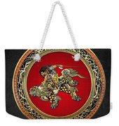 Tribute To Hokusai - Shoki Riding Lion  Weekender Tote Bag
