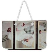 Triptic White Orchids On Light Background Weekender Tote Bag
