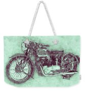 Triumph Speed Twin 3 - 1937 - Vintage Motorcycle Poster - Automotive Art Weekender Tote Bag