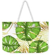 Tropical Haze Green Monstera Leaves And Golden Palm Fronds Weekender Tote Bag