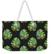 Tropical Leaves On Black- Art By Linda Woods Weekender Tote Bag by Linda Woods