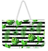 Tropical Leaves Pattern In Watercolor Style With Stripes Weekender Tote Bag
