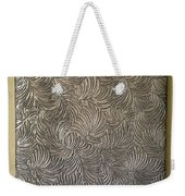 Tropical Palms Canvas Silver - 16x20 Hand Painted Weekender Tote Bag