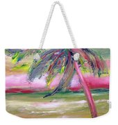 Tropical Sunset In Pink With Palm Tree Weekender Tote Bag
