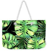 Tropics Noir, Tropical Monstera And Palm Leaves At Night Weekender Tote Bag