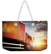 Truck Speeding On The Highway. Transportation Weekender Tote Bag