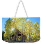 Truckee Shack Near Sunset During Early Autumn With Yellow And Green Leaves On The Trees Weekender Tote Bag