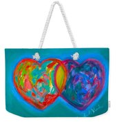 True Blue Hearts Weekender Tote Bag